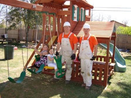 Rainee enjoying her new playground set!